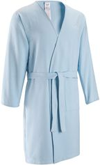 Nabaiji Lichte microvezel badjas volwassenen lichtblauw met 1 zak zonder kap