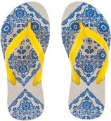 Amazonas blauw/gele kinderslippers Enjoy Bandana girl