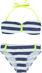 Boobs & Bloomers blauw/wit gestreepte bandeau bikini Vicky zipper