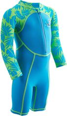 Nabaiji Zwempakje met lange mouwen voor peuters print/blauw
