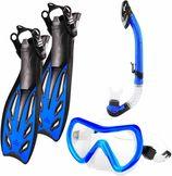 #DoYourSwimming - Snorkelset - »Nixe« - duikbril + zwemvliezen / flippers (zwemvinnen)  + snorkel - EU 44-48 - blauw